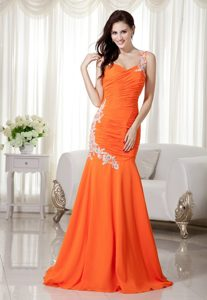 Orange One Shoulder Brush Train Mermaid Ruched Celebrity Dress with Appliques