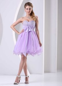 Sweetheart Mini-length Lavender Beaded Tulle Celebrity Dress for Girls with Sash