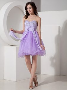 Lavender Sweetheart Mini-length Tulle Beaded Celebrity Dress for Girls with Bow