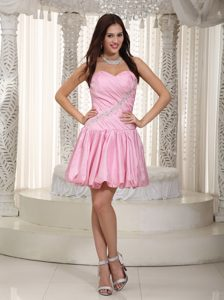 Baby Pink Sweetheart Mini-length Ruched Celebrity Dress with Appliques