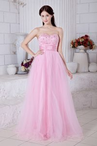 Baby Pink Sweetheart Long Tulle Celebrity Dress for Juniors with Beading