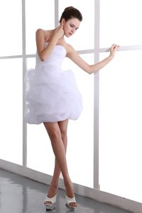 Strapless Mini-length White Ruched Dress for Celebrity with Ruffles and Flower