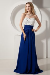 Sweetheart Brush Train Royal Blue Chiffon Celebrity Party Dresses with Beading