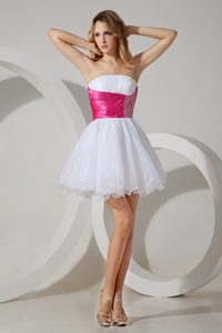 White Ruched Strapless Mini-length Celebrity Dress with Hot Pink Beaded Sash