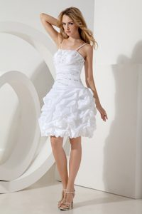 White Spaghetti Straps Short Ruched Celebrity Dress with Pick-ups and Beading