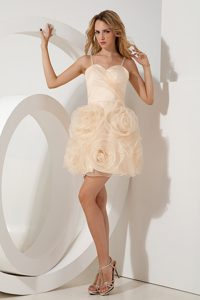 Spaghetti Straps Mini-length Ruched Champagne Celebrity Dress with Flowers