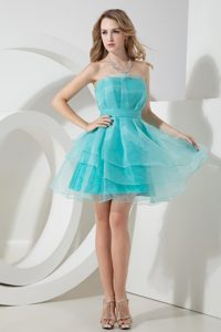 Aqua Blue Strapless Mini-length Organza Celebrity Dress for Juniors for Cheap