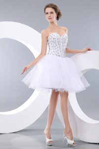 Pretty White Sweetheart Mini-length Tulle Celebrity Evening Dress with Beading