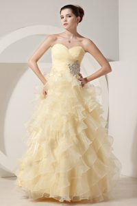 Light Yellow Sweetheart Long Ruched Beaded Celebrity Dress with Ruffles