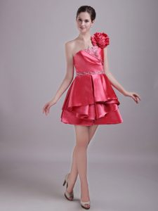 Impressive Red A-line Zipper-up Celebrity Party Dresses with Flowers