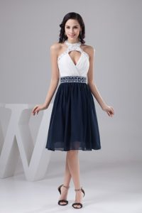 White and Navy Blue Halter Impressive Celebrity Party Dress with Beading