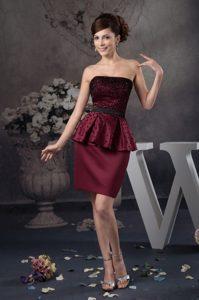 Beaded Wine Red Zipper-up Satin Elegant Celebrity Party Dress for Summer