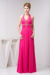 Hot Pink Halter Top Beaded Backless Beautiful Celebrity Party Dress for Fall