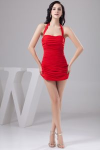 Elegant Halter Top Zipper-up Mini-length Celebrity Party Dress with Ruches