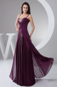 New Ruched and Beaded Brush Train Celebrity Party Dress for Prom in Purple