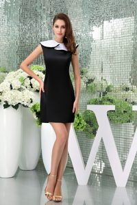 Unique Bateau Zipper-up Celebrity Party Dress for Less in Black and White