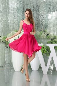 Special Spaghetti Hot Pink Celebrity Party Dress with Asymmetrical Hemline