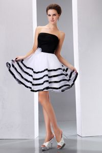 Luxurious Black and White Strapless Zipper-up Celebrity Party Dress for Less
