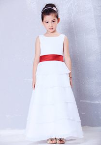 White and Red A-line Ankle-length Chiffon Sash Cinderella Pageant Dress