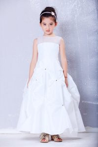 cute A-line Bateau and Organza Cinderella Pageant Dress with Beading