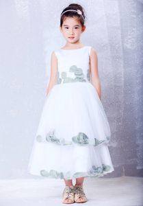Tea-length Handmade Flowery Cinderella Pageant Dress and Taffeta