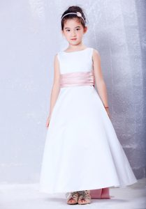 A-line Scoop Ankle-length Cinderella Pageant Dress in Pink Sash