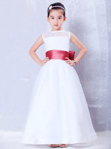Bateau Organza and Bow Cinderella Pageant Dress with Coral Red Sash