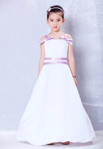 White and Lavender Straps long Cinderella Pageant Dress with Bows