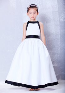 A-line Square long Bow Cinderella Pageant Dress in white and Black