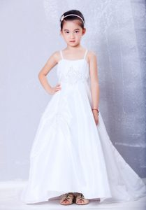 Court Train Appliqued Cinderella Pageant Dress with Spaghetti Straps