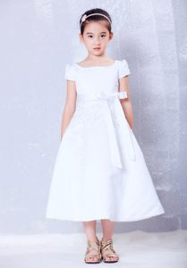 White A-line Tea-length Cinderella Pageant Dress with Bow and Beading
