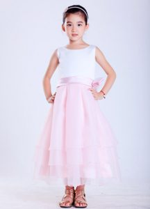 White and Pink Scoop Ankle-length Cinderella Pageant Dress with Bow