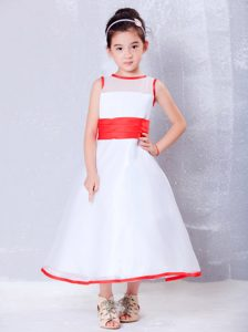White and Red A-line Scoop Ankle-length Organza Cinderella Pageant Dresses
