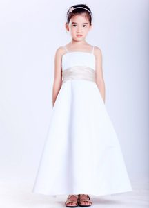 White A-line Straps Ankle-length Satin Beaded Cinderella Pageant Dress on Sale