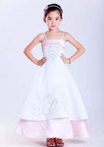 White and Pink Ankle-length Cinderella Pageant Dresses with Embroidery