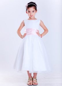 White and Pink Tea-length Cinderella Pageant Dresses with Hand Made Flower