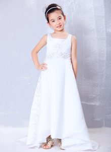A-line Square Satin Beaded Cinderella Pageant Dress with Brush Train for Cheap