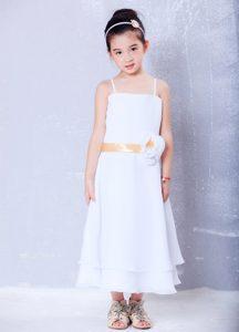 White Empire Straps Chiffon Cinderella Pageant Dress