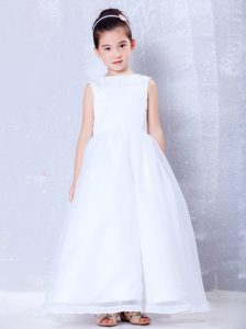 A-line Bateau Ankle-length Organza Beaded Cinderella Pageant Dress for Cheap