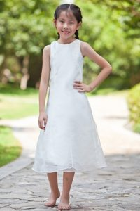 White Scoop Tea-length Organza and Cinderella Pageant Dress