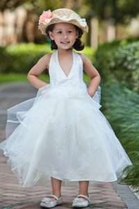 Halter Top and Tulle Beaded Cinderella Pageant Dress