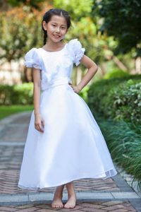 New White Ankle-length Cinderella Pageant Dress