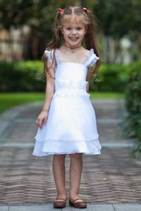 White Straps Knee-length Beaded and Ruffled Cinderella Pageant Dress