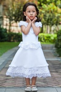 2013 White Scoop Ankle-length and Lace Cinderella Pageant Dress
