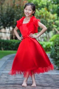 Red Square Ankle-length Satin and Tulle Cinderella Pageant Dress on Sale