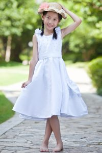 White Scoop Beaded Cinderella Pageant Dress