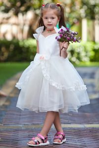 Tea-length Organza Cinderella Pageant Dresses