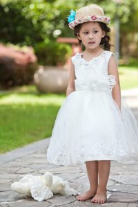 White V-neck Tea-length Beaded Cinderella Pageant Dress