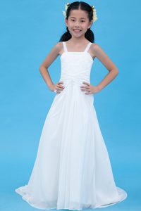 White A-line Chiffon Cinderella Pageant Dress with Brush Train and Embroidery