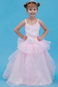 Modern Baby Pink A-line Straps Organza Cinderella Pageant Dress on Promotion